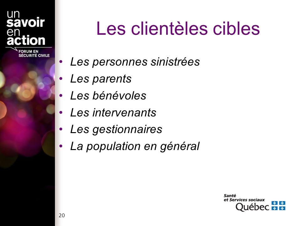 Les clientèles cibles Les personnes sinistrées Les parents Les bénévoles Les intervenants Les gestionnaires La population en général 20