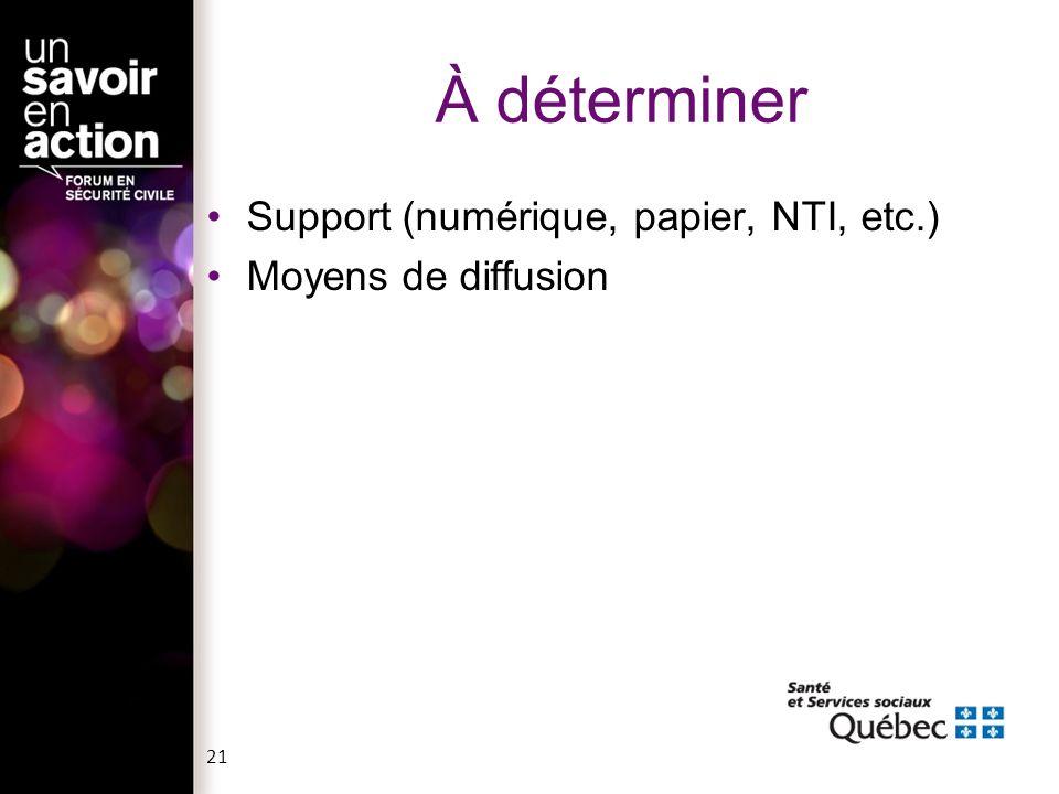 À déterminer Support (numérique, papier, NTI, etc.) Moyens de diffusion 21