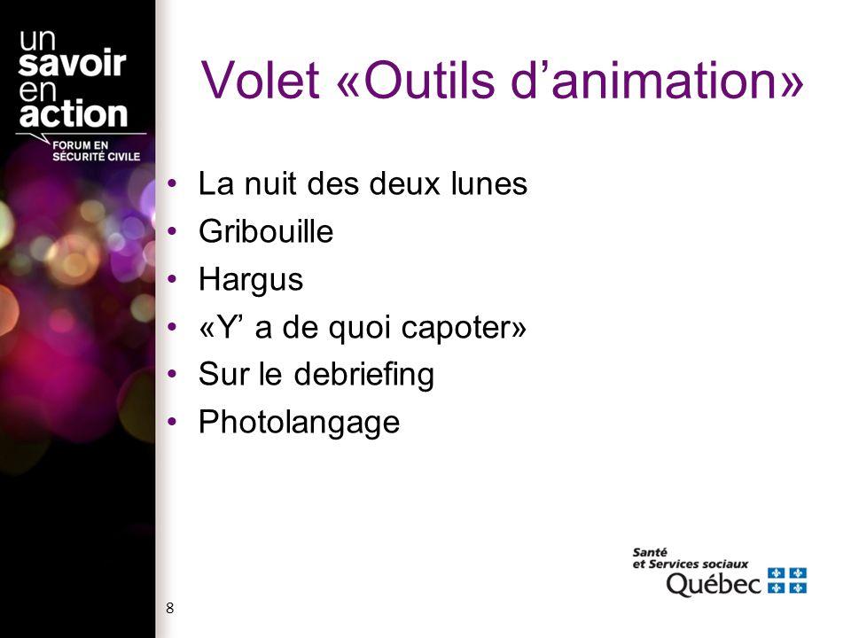 Volet «Outils danimation» La nuit des deux lunes Gribouille Hargus «Y a de quoi capoter» Sur le debriefing Photolangage 8