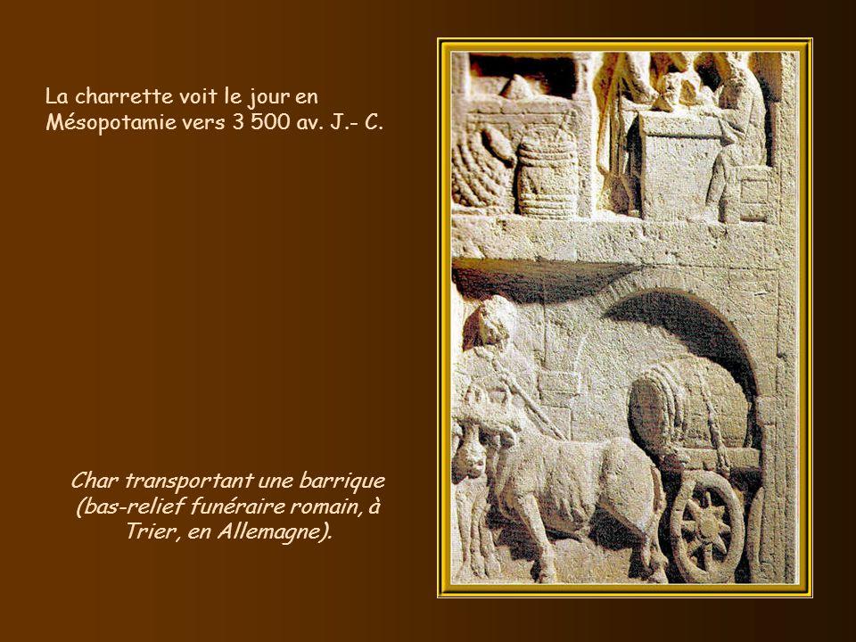 Vers 3 500 av. J.- C., la roue et lessieu font leur apparition. Certaines inventions évoluent à partir dun objet existant. Ce constat vaut pour la rou