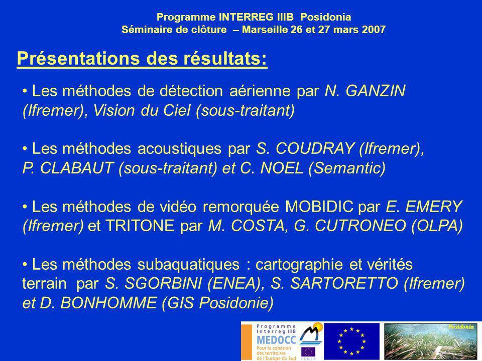 Programme INTERREG IIIB Posidonia Séminaire de clôture – Marseille 26 et 27 mars 2007 Présentations des résultats: Les méthodes de détection aérienne