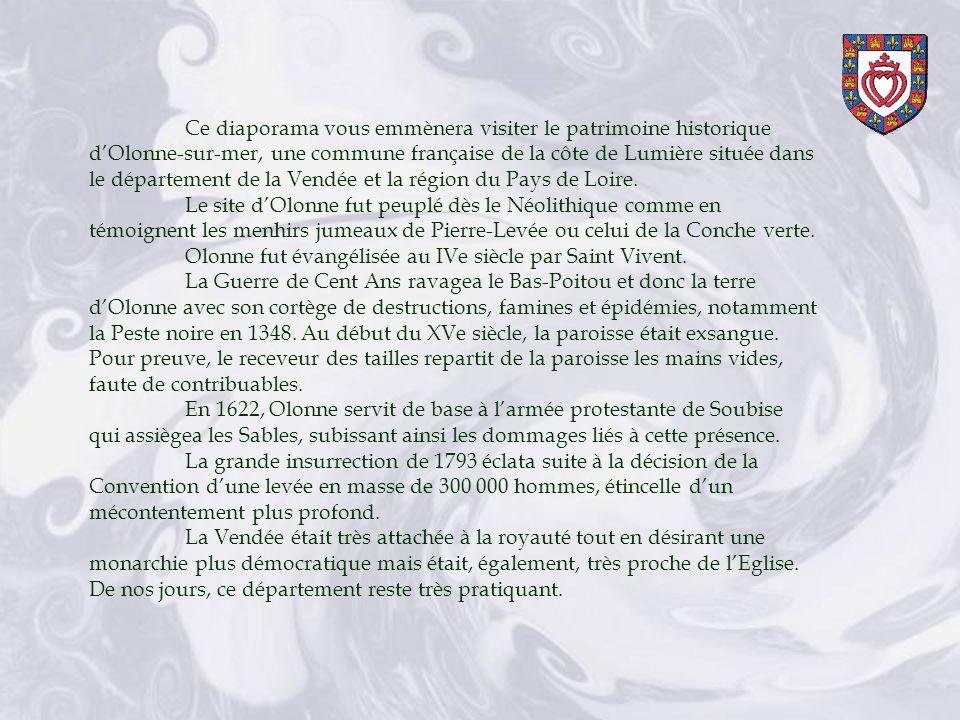 Ce diaporama vous emmènera visiter le patrimoine historique dOlonne-sur-mer, une commune française de la côte de Lumière située dans le département de la Vendée et la région du Pays de Loire.