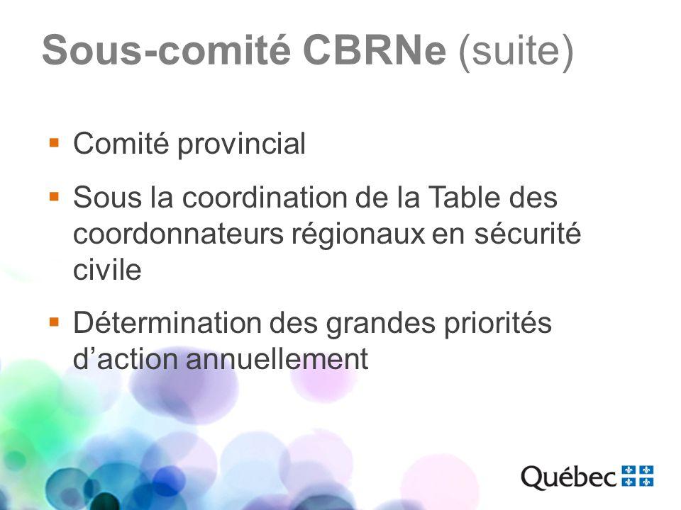 Sous-comité CBRNe (suite) Mandat Sassurer que le réseau de la santé et des services sociaux est apte à faire face à un événement impliquant des agents CBRNe.