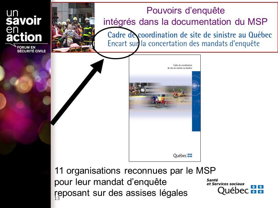 11 organisations reconnues par le MSP pour leur mandat denquête reposant sur des assises légales Pouvoirs denquête intégrés dans la documentation du M