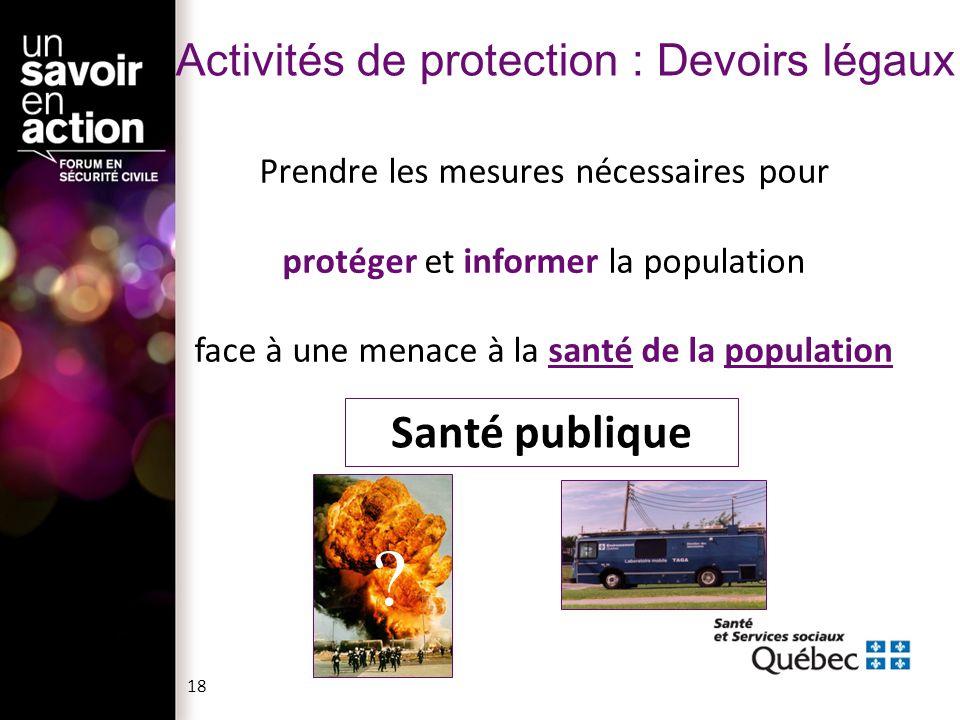 Activités de protection : Devoirs légaux Prendre les mesures nécessaires pour protéger et informer la population face à une menace à la santé de la po