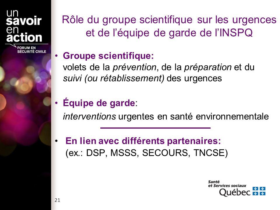 Rôle du groupe scientifique sur les urgences et de léquipe de garde de lINSPQ Groupe scientifique: volets de la prévention, de la préparation et du su