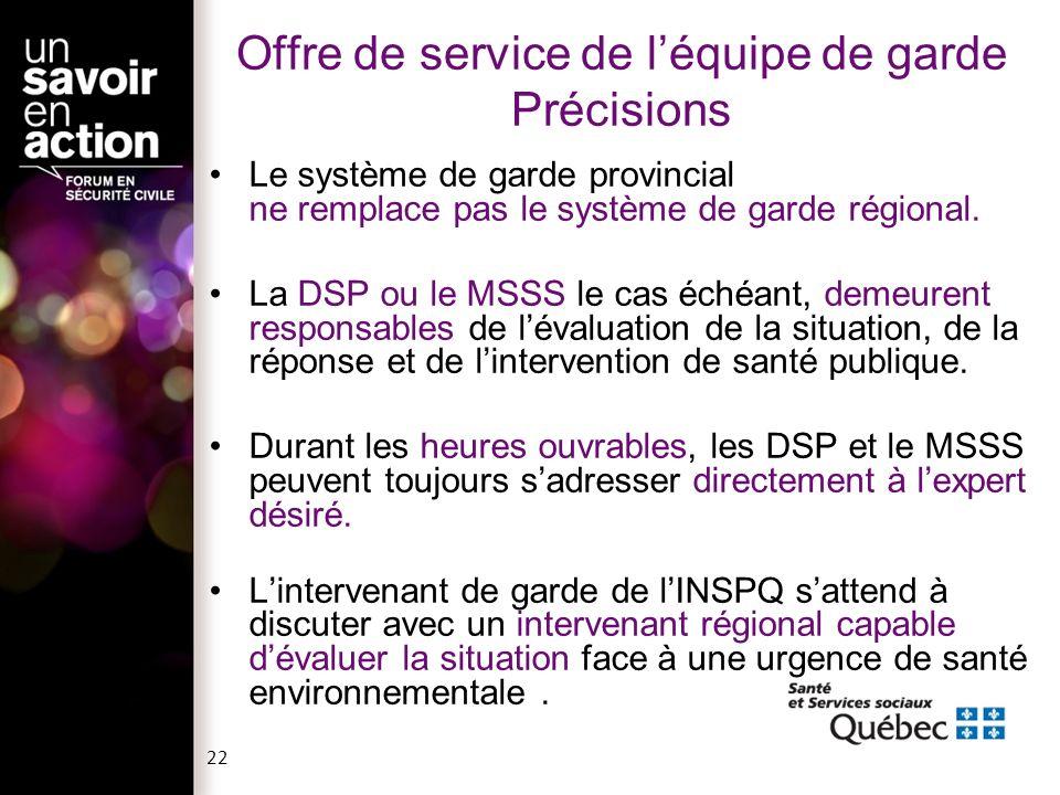 Offre de service de léquipe de garde Précisions Le système de garde provincial ne remplace pas le système de garde régional. La DSP ou le MSSS le cas