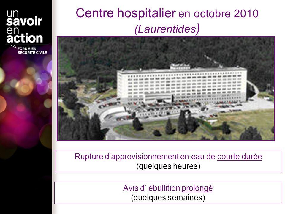 Centre hospitalier en octobre 2010 (Laurentides ) Avis d ébullition prolongé (quelques semaines) Rupture dapprovisionnement en eau de courte durée (qu