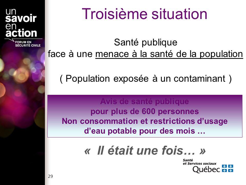 Santé publique face à une menace à la santé de la population ( Population exposée à un contaminant ) Avis de santé publique pour plus de 600 personnes
