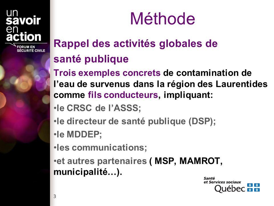 3 Méthode Rappel des activités globales de santé publique Trois exemples concrets de contamination de leau de survenus dans la région des Laurentides