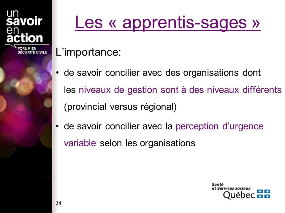 Les « apprentis-sages » Limportance: de savoir concilier avec des organisations dont les niveaux de gestion sont à des niveaux différents (provincial