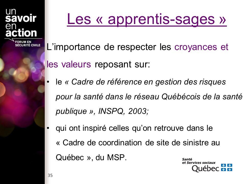 Les « apprentis-sages » Limportance de respecter les croyances et les valeurs reposant sur: le « Cadre de référence en gestion des risques pour la san