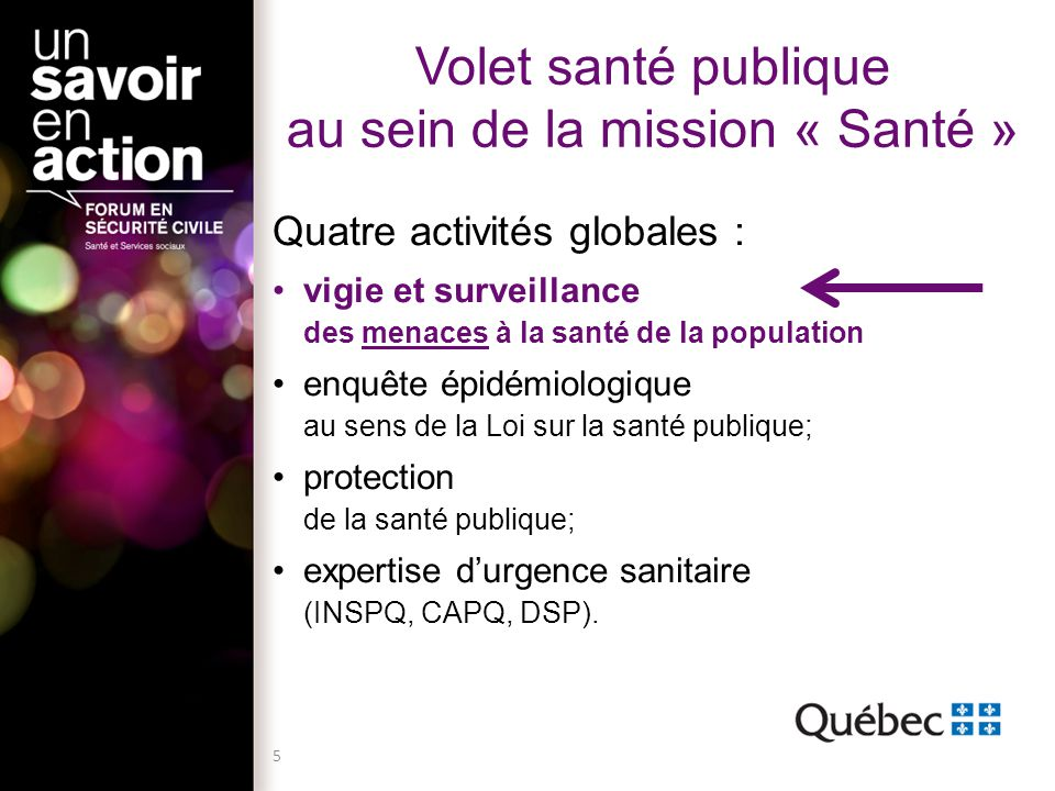 Volet santé publique au sein de la mission « Santé » Quatre activités globales : vigie et surveillance des menaces à la santé de la population enquête