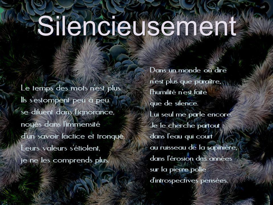 Silencieusement Le temps des mots nest plus.