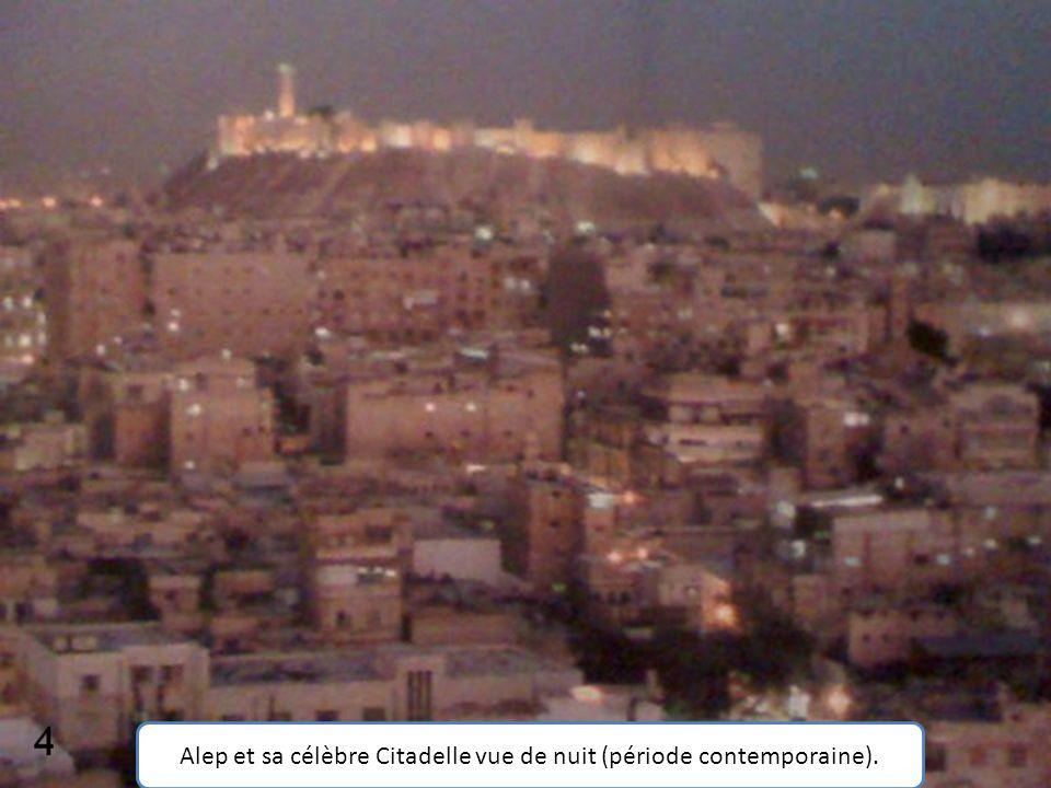 Alep et sa célèbre Citadelle vue de nuit (période contemporaine).