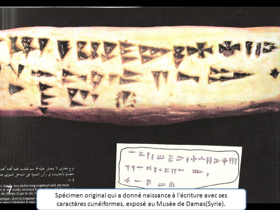 Spécimen original qui a donné naissance à l écriture avec ses caractères cunéiformes, exposé au Musée de Damas(Syrie).