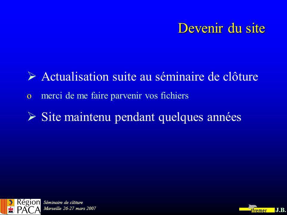 Séminaire de clôture Marseille 26-27 mars 2007 J.B. Fréquentation du site : janvier 07 261 demandes ont abouti à laffichage dun document pdf France (h