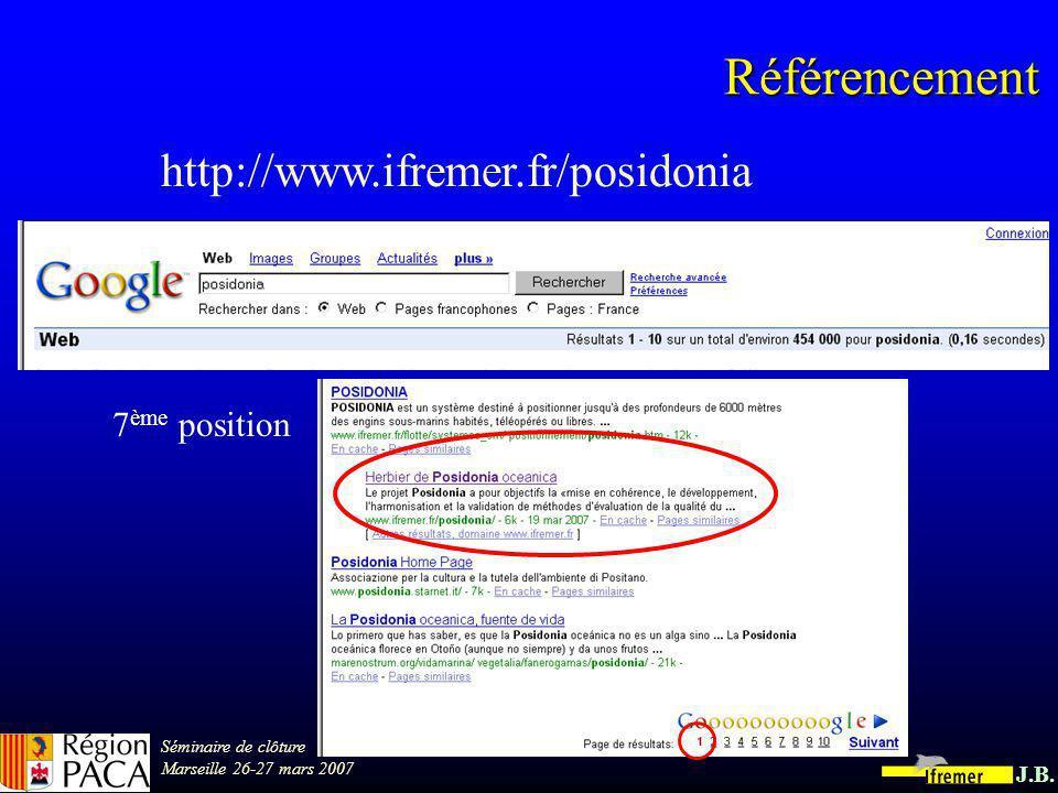 Séminaire de clôture Marseille 26-27 mars 2007 J.B. Contenu du site accueilPosidonia ActualitésProgrammePartenairesBibliographiePlanning 26 pages 22 d