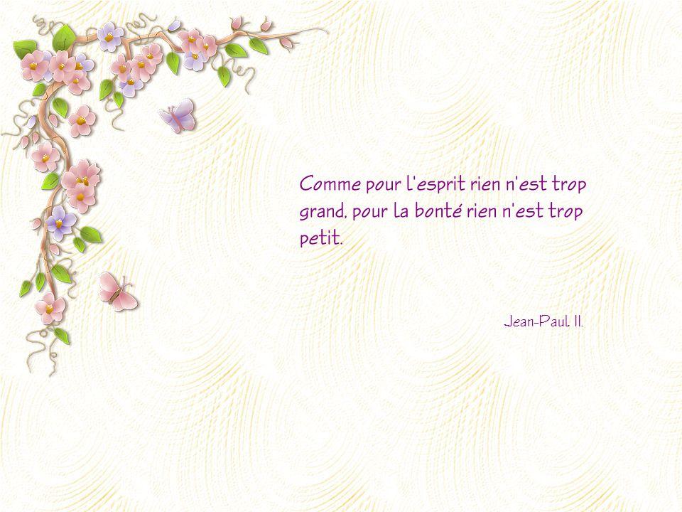 Comme pour l esprit rien n est trop grand, pour la bonté rien n est trop petit. Jean-Paul II.