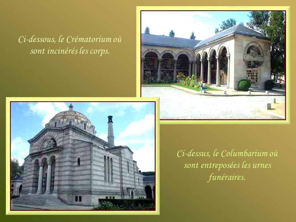 Ci-dessus, le Columbarium où sont entreposées les urnes funéraires.