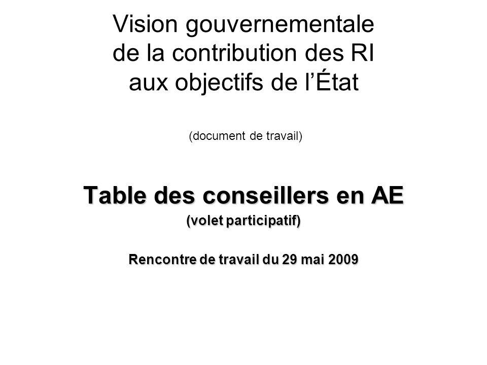 Vision gouvernementale de la contribution des RI aux objectifs de lÉtat (document de travail) Table des conseillers en AE (volet participatif) Rencontre de travail du 29 mai 2009