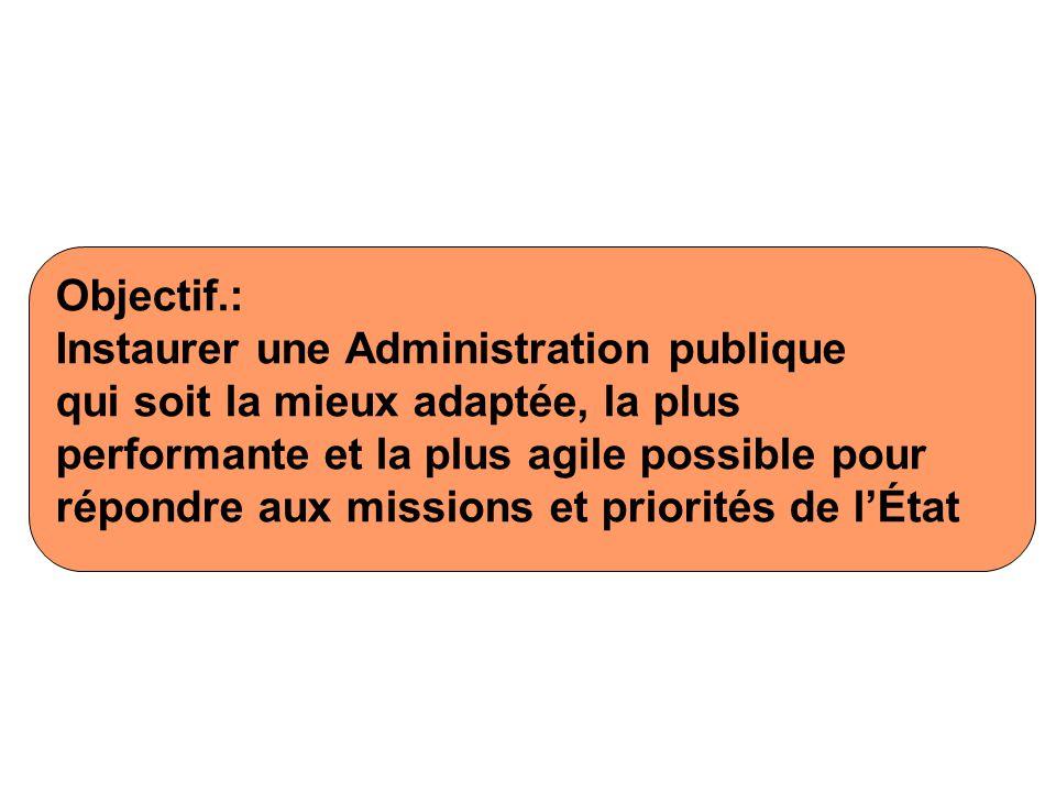 Objectif.: Instaurer une Administration publique qui soit la mieux adaptée, la plus performante et la plus agile possible pour répondre aux missions et priorités de lÉtat