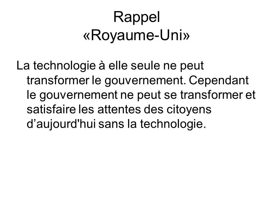 Rappel «Royaume-Uni» La technologie à elle seule ne peut transformer le gouvernement.