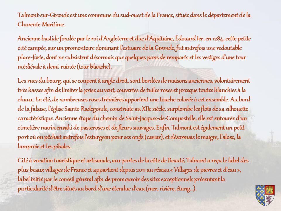 Talmont-sur-Gironde est une commune du sud-ouest de la France, située dans le département de la Charente-Maritime.