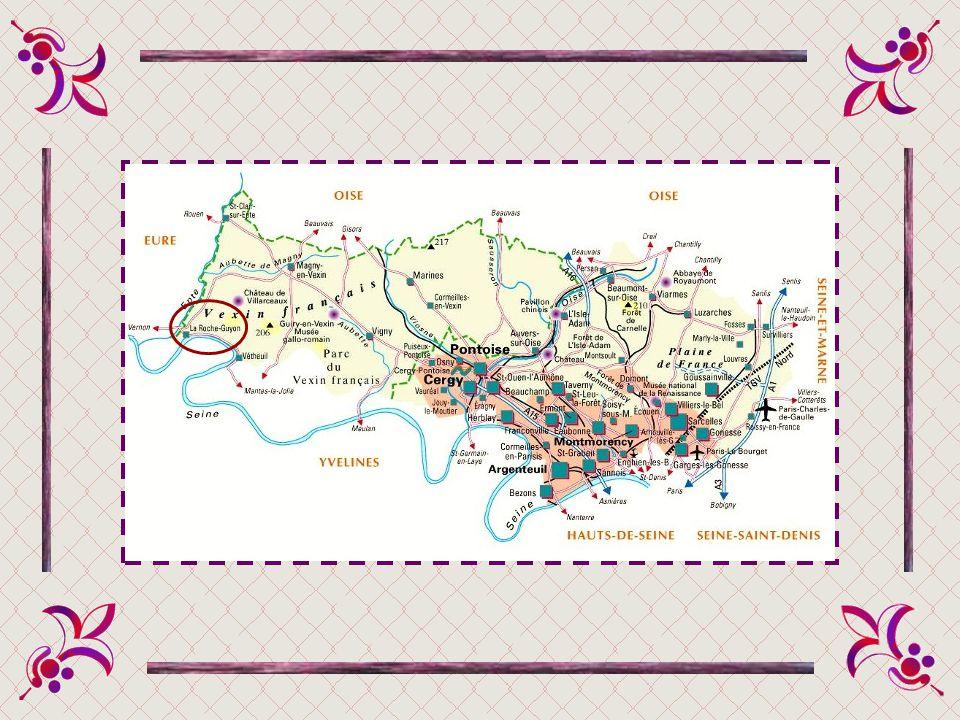La commune de La Roche-Guyon est située dans le sud-ouest du Val-dOise, aux confins de lÎle-de-France et de la Normandie, à la jonction des trois dépa