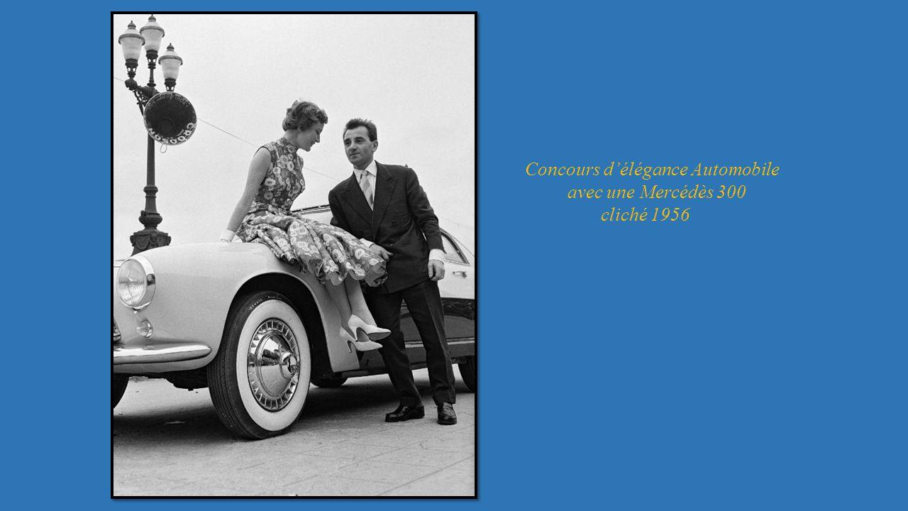 Concours délégance Automobile avec une Mercédès 300 cliché 1956