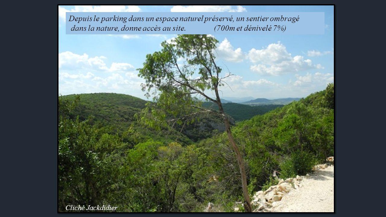 Cliché Jackdidier Depuis le parking dans un espace naturel préservé, un sentier ombragé dans la nature, donne accès au site.