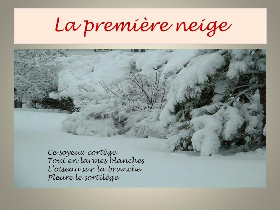 La première neige Ce soyeux cortège Tout en larmes blanches Loiseau sur la branche Pleure le sortilège