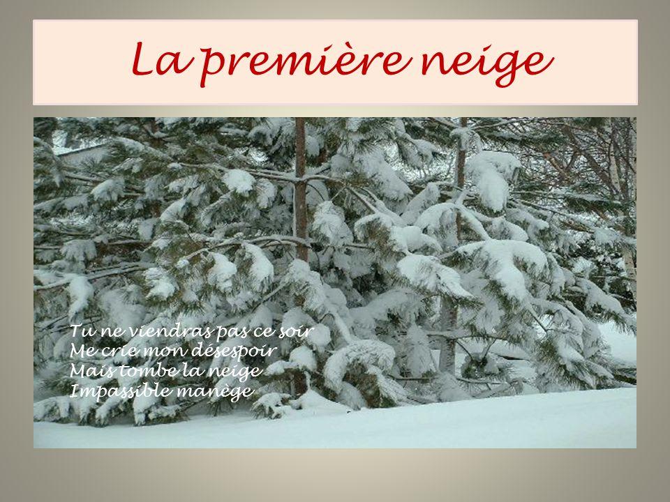 La première neige Tu ne viendras pas ce soir Me crie mon désespoir Mais tombe la neige Impassible manège