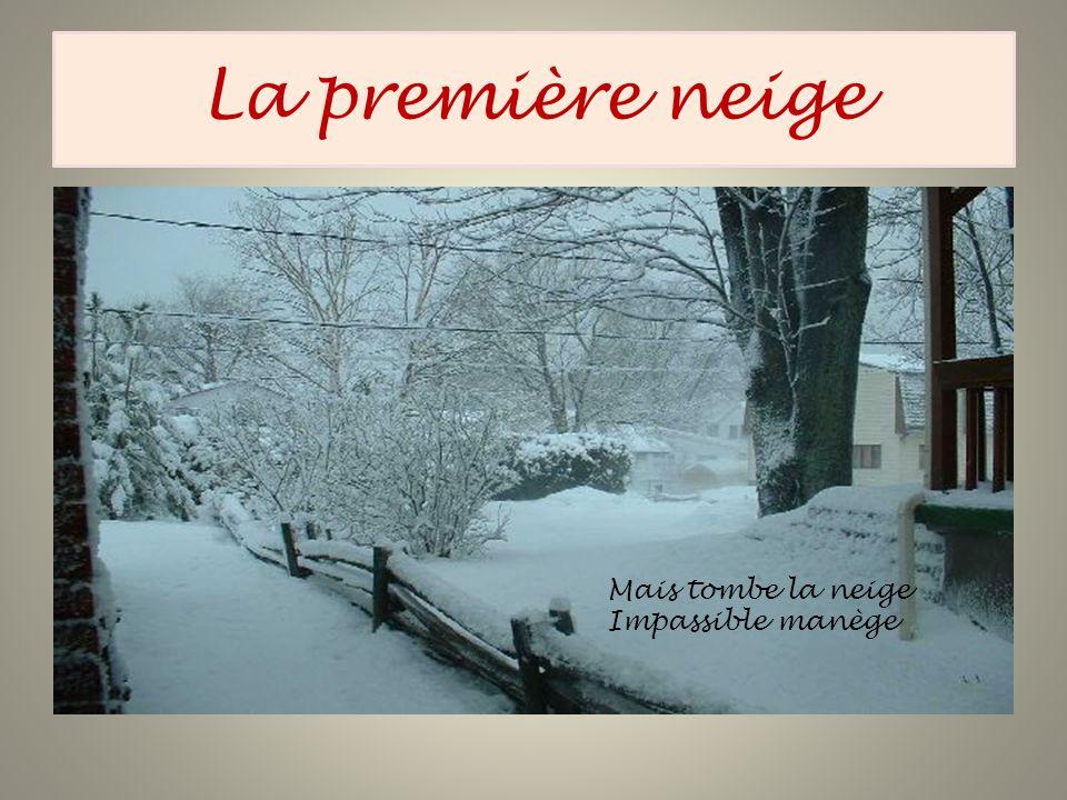 La première neige Mais tombe la neige Impassible manège
