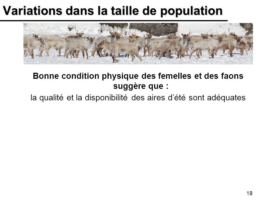 18 Variations dans la taille de population Bonne condition physique des femelles et des faons suggère que : la qualité et la disponibilité des aires d