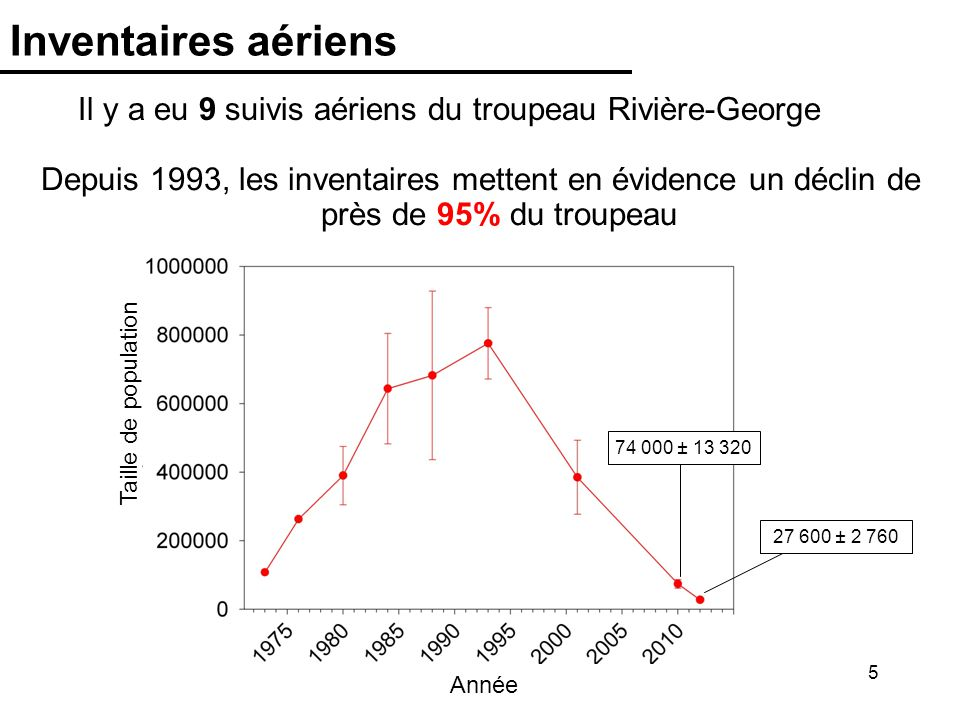 5 Inventaires aériens Il y a eu 9 suivis aériens du troupeau Rivière-George Depuis 1993, les inventaires mettent en évidence un déclin de près de 95%