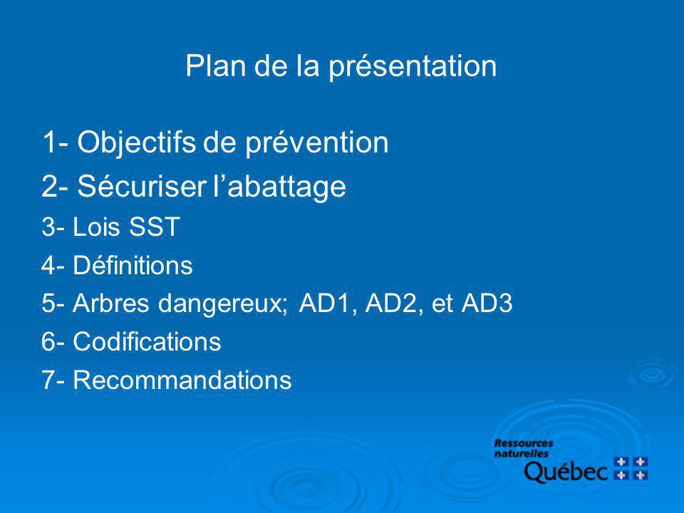 Plan de la présentation 1- Objectifs de prévention 2- Sécuriser labattage 3- Lois SST 4- Définitions 5- Arbres dangereux; AD1, AD2, et AD3 6- Codifica