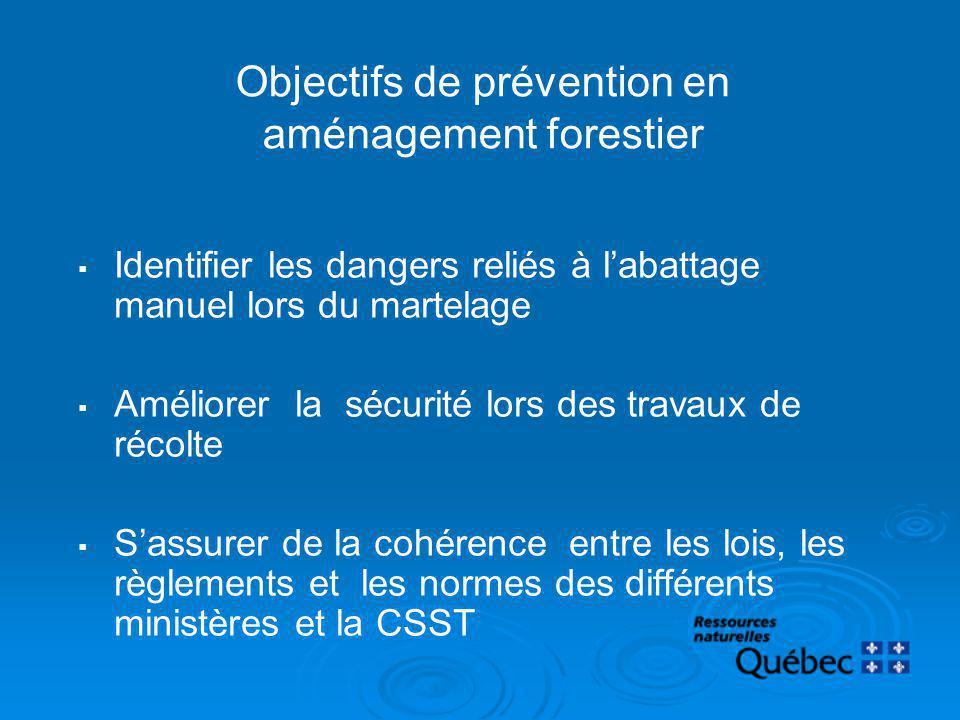 Objectifs de prévention en aménagement forestier Identifier les dangers reliés à labattage manuel lors du martelage Améliorer la sécurité lors des tra