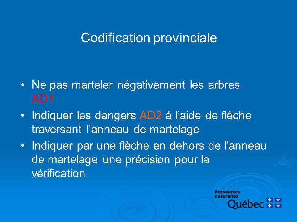 Codification provinciale Ne pas marteler négativement les arbres AD1 Indiquer les dangers AD2 à laide de flèche traversant lanneau de martelage Indiqu