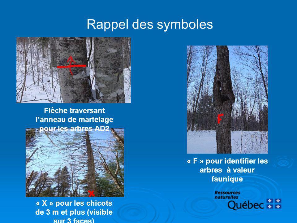 Rappel des symboles « F » pour identifier les arbres à valeur faunique « X » pour les chicots de 3 m et plus (visible sur 3 faces) Flèche traversant l
