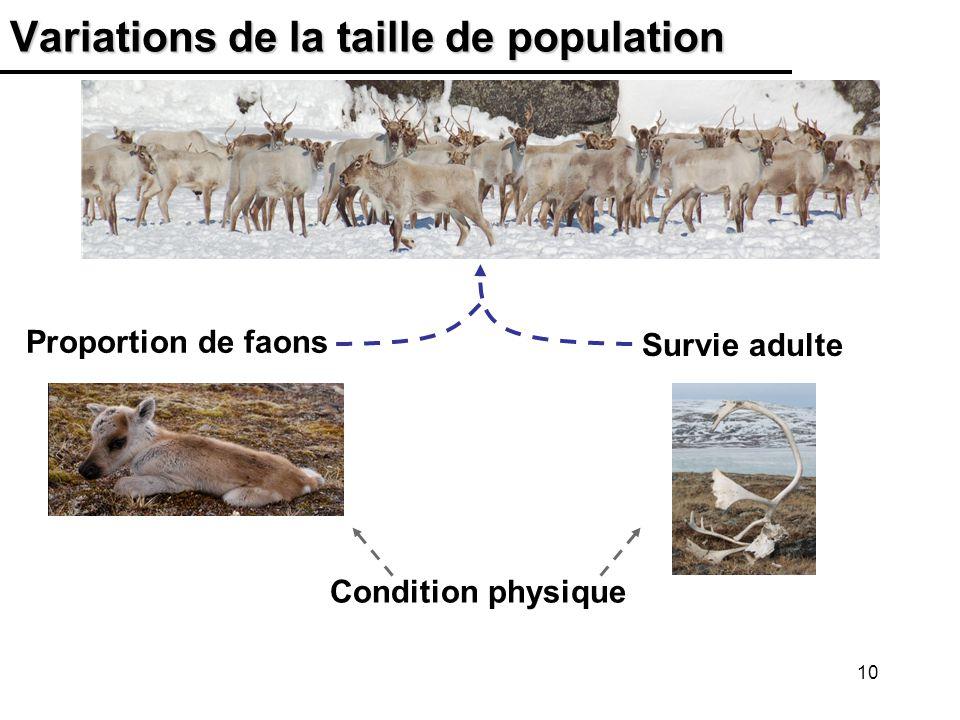 10 Variations de la taille de population Proportion de faons Survie adulte Condition physique