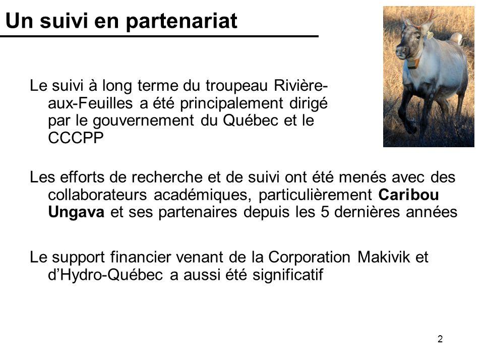 2 Un suivi en partenariat Le suivi à long terme du troupeau Rivière- aux-Feuilles a été principalement dirigé par le gouvernement du Québec et le CCCP