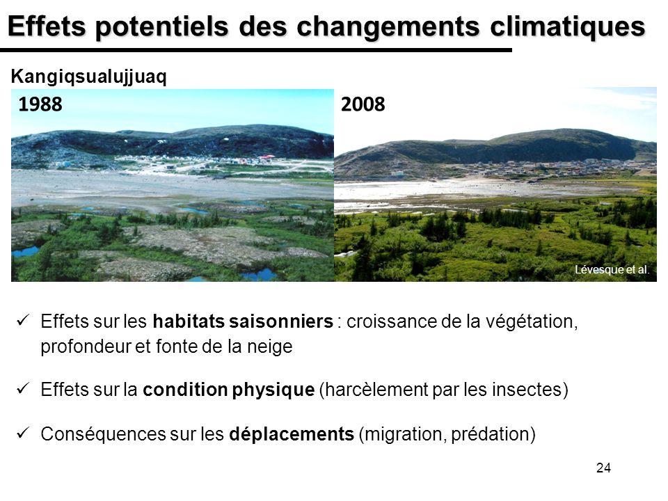 24 Effets potentiels des changements climatiques Effets sur les habitats saisonniers : croissance de la végétation, profondeur et fonte de la neige Ef