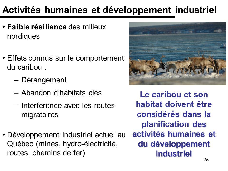 25 Activités humaines et développement industriel Faible résilience des milieux nordiques Effets connus sur le comportement du caribou : –Dérangement