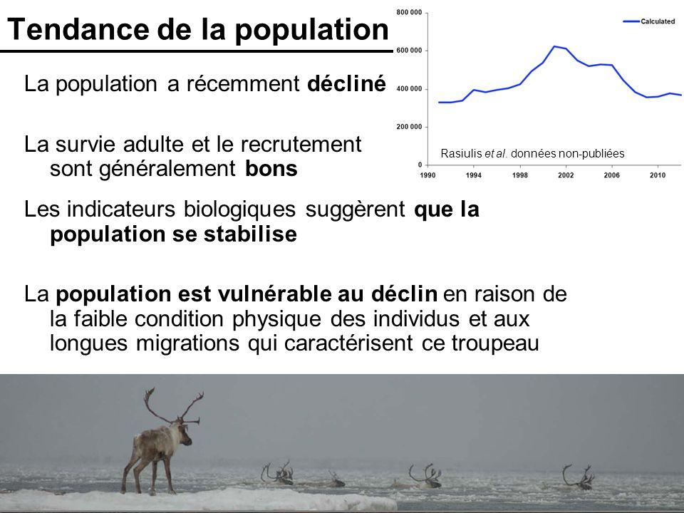 31 Tendance de la population La population a récemment décliné La survie adulte et le recrutement sont généralement bons Rasiulis et al. données non-p