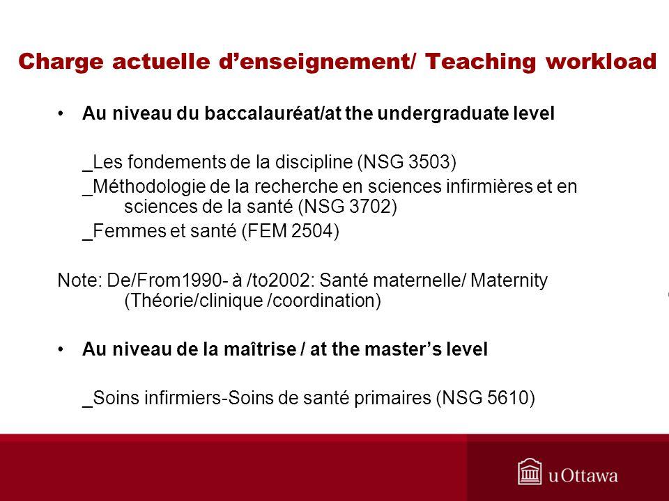 Charge actuelle denseignement/ Teaching workload Au niveau du baccalauréat/at the undergraduate level _Les fondements de la discipline (NSG 3503) _Mét