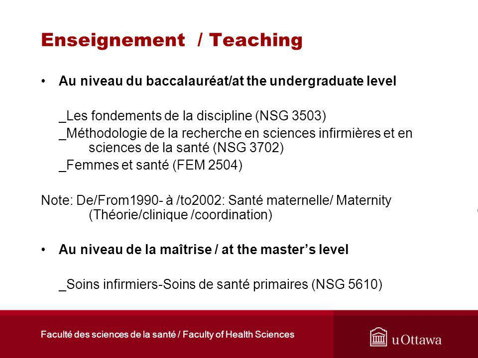 Faculté des sciences de la santé / Faculty of Health Sciences Enseignement / Teaching Au niveau du baccalauréat/at the undergraduate level _Les fondem