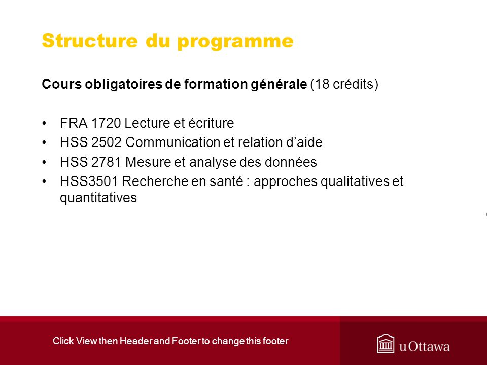 Click View then Header and Footer to change this footer Structure du programme Cours obligatoires de formation générale (18 crédits) FRA 1720 Lecture