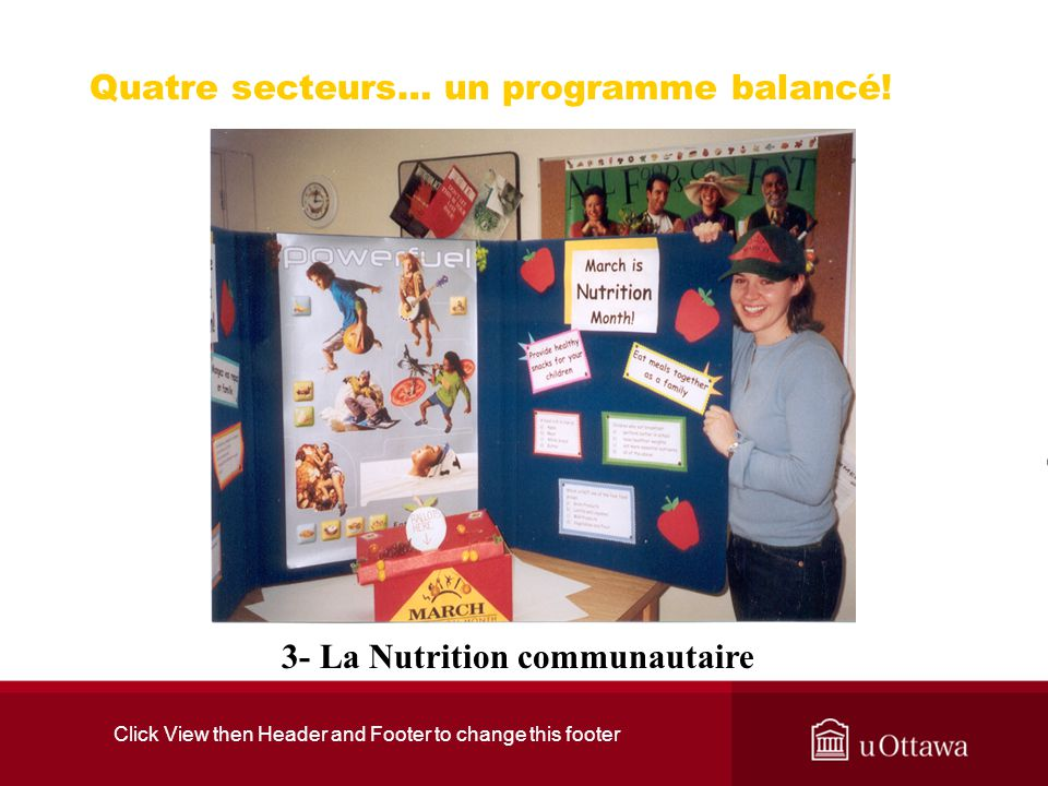 Click View then Header and Footer to change this footer Quatre secteurs… un programme balancé! 3- La Nutrition communautaire