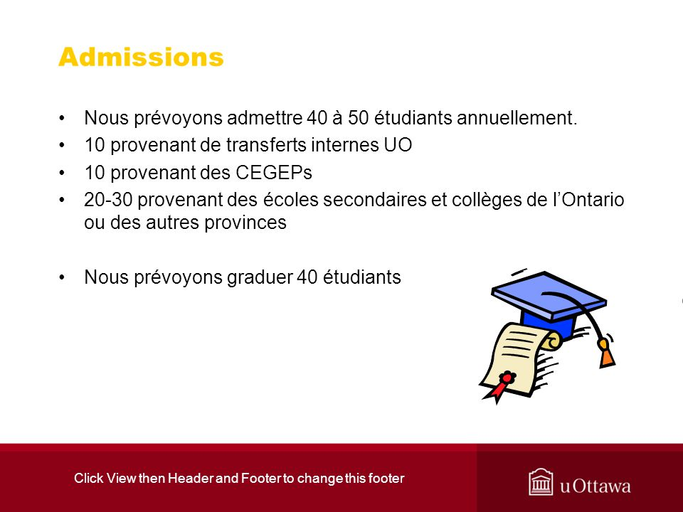 Click View then Header and Footer to change this footer Admissions Nous prévoyons admettre 40 à 50 étudiants annuellement. 10 provenant de transferts